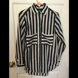 Stripe shirt button down retro modern flair